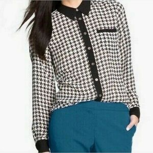 Vince Camuto Plus Size Houndstooth Button Blouse
